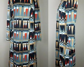 Vintage 1970s Sears geometric print dress