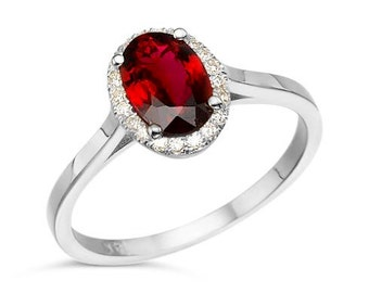Tourmaline Diamond Engagement Ring - White Gold Ring -red tourmaline Engagement Ring-Wedding & Engagement-tourmaline ring-promise ring-