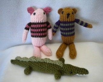 Knitted Pig, Bear & crochet alligator toys/dolls