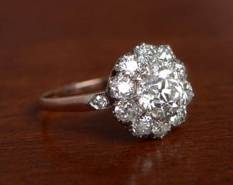 1.56 carat Old European Cut Diamond - Diamond Cluster Engagement ring