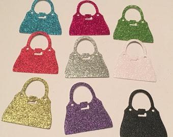 12 die cut handbags - mixed glitter