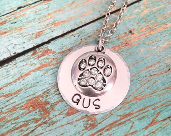 Personalized Hand Stamped Dog Necklace, Custom Dog Necklace, Hand Stamped, Stamped Jewelry, Dog Necklace, Animal Necklace, Animal Jewelry