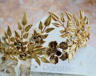 Bridal Headpiece,Gold Leaf Crown,Gold Laurel Crown, Floral Leaf Headband Gold Bridal Tiara, Headpiece Earring Boutonniere Set -ELIZABETH