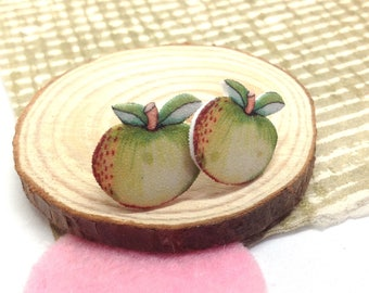 Apple Stud Earrings, Teacher Appreciation Gift, Shrink Plastic Stainless Steel Post Studs, Thank You Gift Tutor, Fruit Jewellery, Handmade.
