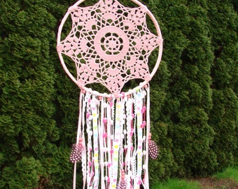 Pink Dreamcatcher,Boho dream catcher,Baby girl gift,Baby shower decoration,First birthday,Pink nursery decor,Doily dream catcher,Bohemian
