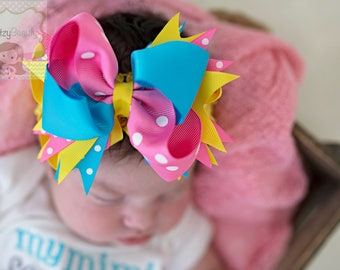 OTT Girls Hair Bow Headband Pink Yellow Turquoise Blue Duck Girls Polkadot