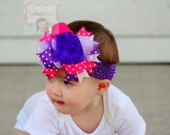 Pink Purple Girls OTT Feather Hair Bow Headband Birthday