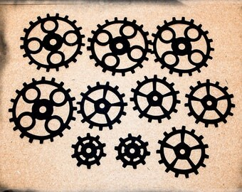 20 Steampunk black card gears cogs die cuts Sizzix 7.5, 6 & 4 cm Tim Holtz design embellishments Buy 3 get 1 free