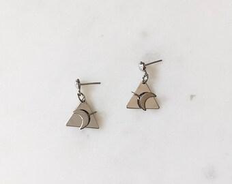 "1990's Dead Stock Vintage Silver Minimal Triangle Half Moon Crescent Drop Dangle Miniature .5"""