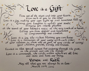 Wedding Reading, Wedding Blessing, Wedding Wall Art, Anniversary Gift, Wedding Gift, Custom Calligraphy, 11 x 14   inch