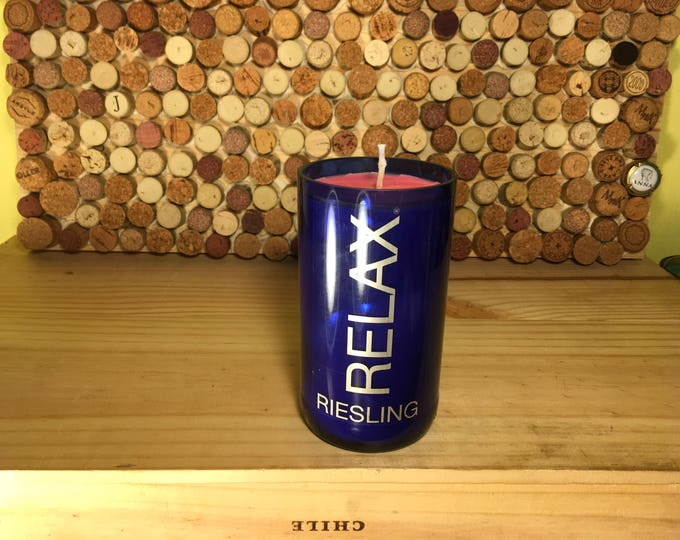 Relax Riesling bottle with a Grapefruit Soy candle