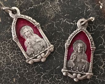 Vintage Virgin Mary Jesus Gorgeous Miraculous Italian Enamel Medal - Petite, Highly Detailed and Ultra Rare - Mother Mary - Jesus - Sacred