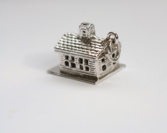 Sterling Silver House Pendant - Tiny House Pendant - Charm House Pendant - Sterling Silver Pendant
