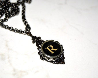 Typewriter Key Necklace, Personalized Initial Necklace with a Letter R, Gift for Her, Typography Jewelry.