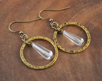 Hammered Brass Earrings, Bohemian Jewelry, Boho Earrings, Czech Earrings, Brass Dangle Earrings, Bohemian Earrings