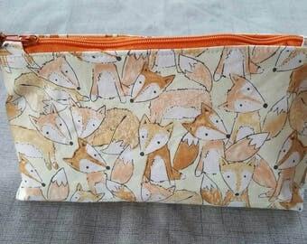 Foxy cosmetic bag, Fox print bag, Fox make-up bag, Fox zipper pouch, Fox cosmetic case.