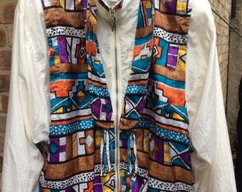 Authentic vintage Aztec print bomber jacket