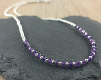 Thin Amethyst Necklace, February Birthstone, Beaded Amethyst Necklace, Gift for wife