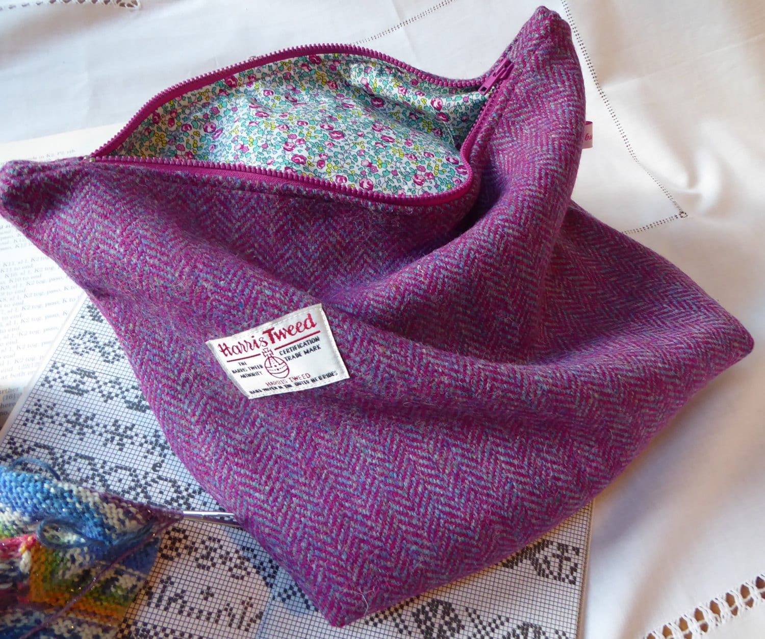 Knitting Project Bags Uk : Knitting bag project in harris tweed