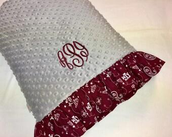 Texas A & M pillowcase made with Grey Minky Dot