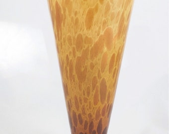 Vintage Murano Style Handblown Glass Vase Tortoise Shell with Gold Flecks Made in Italy