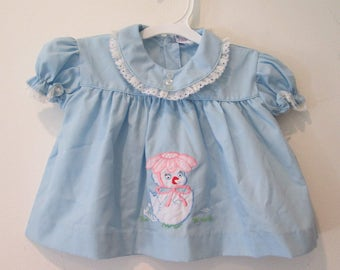 Vtg Infant Dress with Applique hatching Chick