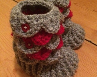 Handcrafted Crochet Grey and Pink Crocodile Stitch Baby Booties