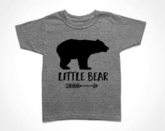Little Bear Shirt - Gray Youth Tee - Sister Bear T-shirt - Brother Bear Tshirt