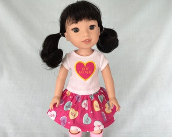 Pink Heart Valentine T-Shirt and Pink Candy Conversation Heart Skirt for Wellie Wisher/14.5 Inch Doll