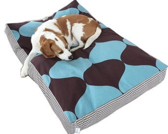 Dog Bed Cover - 'TILLY' design in Blue & Brown - 3 sizes