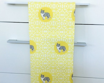 Border Collie Dog Breed Tea Towel -  Border Collie dog dish cloth, kitchen gift - in  Yellow and White