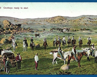 Vintage Postcard - Cowboys Saddled Up and Ready to do a Cattle Drive to Market  (2294)
