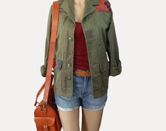 Jacket custom printed Aztec boho/hippie chic style