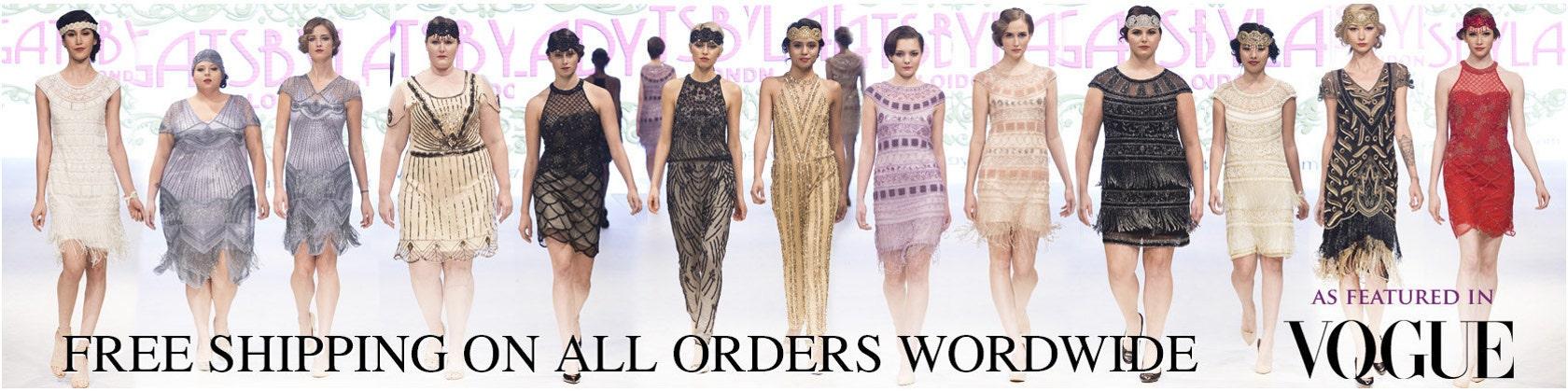 vintage inspired hand embellished flapper dresses by