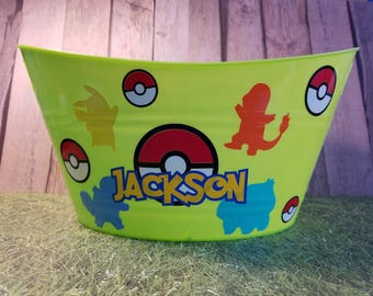 Plastic Oval Easter Tub, Toy Storage Basket with Pokemon