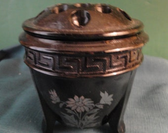 L.E. Smith Art Deco Black Amethyst Glass Greek Key Flower Frog, Tri-Footed Bowl/Urn With Hand Painted Overlay