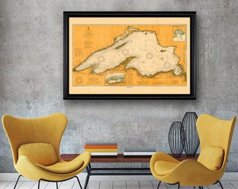 "Large/XL 1917 Lake Superior nautical map reprint, Vintage Great Lakes nautical map/chart reprint - 5 sizes up to 60""x40 "" -in 3 three colors"
