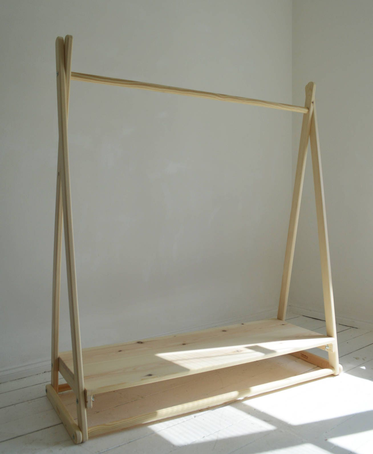 Handmade natural wood clothes rail with shelf in pure - Kleiderstange holz ...