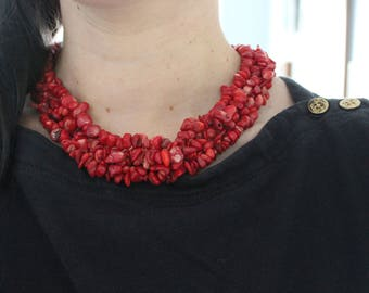 Natural red coral cluster necklace