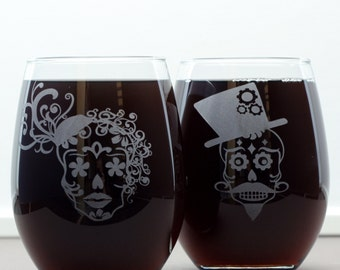 sugar skull couple set of etched wine glasses stemed or stemless wedding gift - Etched Wine Glasses