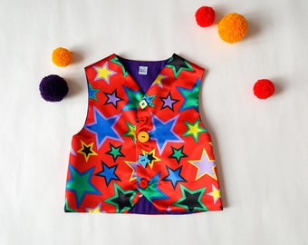 Faschings Carnival Clown Vest | Circus Clown | Colourful Harlequin Vest | Mardi Gras | Circus Party | Jester Kids Costume