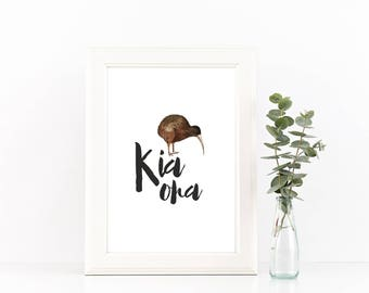Kiwi bird print, PRINTABLE, Kia ora New Zealand wall art, Maori Aotearoa animal home dorm study office decor, travel gift