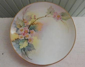 Hand Painted Nippon Plate with Berry Blossoms and Leaves - Signed by the Artist, T. Sugineka - Hand Painted Luncheon Plate w/Gold Gilt Edge