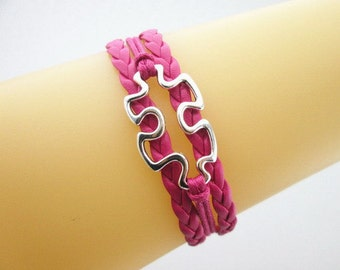 Quality Rose Pink Leather Braided Autism Puzzle Piece Bracelet