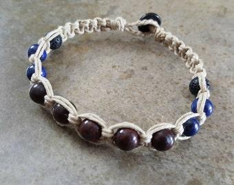 Mens Hemp Bracelet, Lapis Lazuli Bracelet, Mahogany Obsidian, Hemp for Him, Mens Jewelry, Hemp Jewelry, Handmade, Hemp Bracelet, Lava Rock