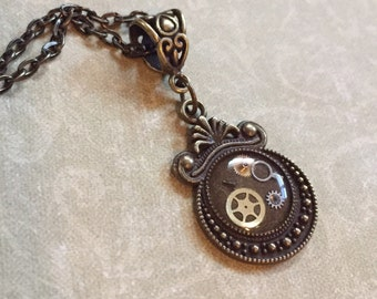 Oval Steampunk Gears Resin Necklace Pendant (or Keychain) Unusual Repurposed Upcycle