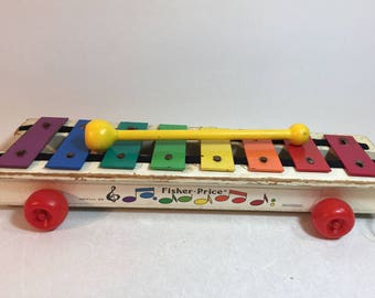 Vintage Fisher Price Wood Pull a Tune Xylophone 1979