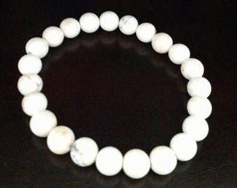 White Howlite Beach Summer Beaded Stretch Bracelet