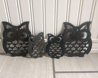 Metal Owl Trivet, Owl Decor, Vintage Owl, Vintage Trivet Set, Owls