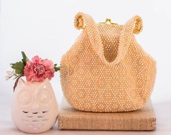 15% Off Code - Corde Bead Beaded Pink and White Handbag, 1950s Vintage Purse, Circle Design, Gold Metal Frame Rhinestone Detail On Clasp
